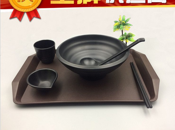 Plastic Melamine Imitation Porcelain Melamine Black Matte Tableware Set Fast Food Tableware Ajisen Ramen Bowl Set Wholesale (5 Sets)