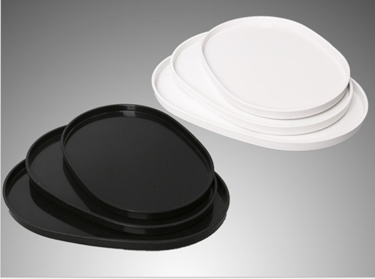 Plastic Plate Melamine Tableware Fast Food Plate Oval Cup Tray Ktv Hotel Bar Wine Glass Tray Tray
