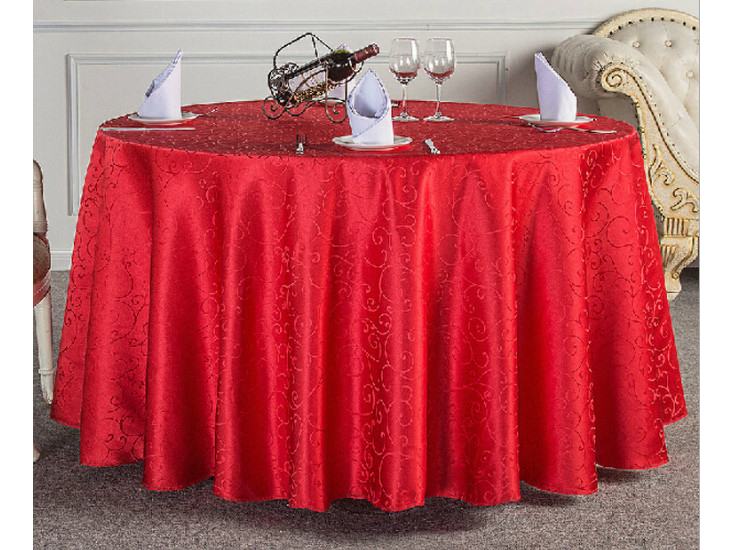 Polyester Jacquard Restaurant Table Cloth Hotel Banquet Red Round Tablecloth New Listing