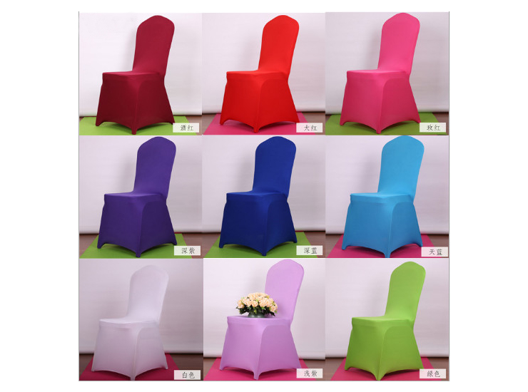 Polyester Wedding Banquet Chair Covers Hotel Restaurant White Elastic Chair Covers Wholesale