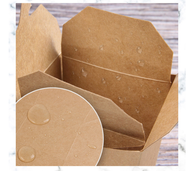 (Box/300 Pcs) Portable Kraft Paper Lunch Box Pasta Fried Rice Takeaway Disposable Packaging Takeaway Box (Door Delivery Included)