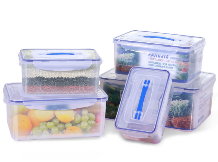 Portable Sealed Box Plastic Storage Box Wholesale Rectangular Large Capacity Storage Box Refrigerator Food Box
