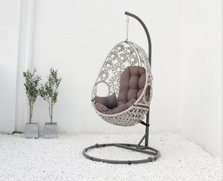 Pull Flower Rattan Hanging Basket Chair Outdoor Modern Simple Leisure Balcony Swing Garden Hanging Chair Woven Rattan Chair (Delivery & Installation Fee To Be Quoted Separately)