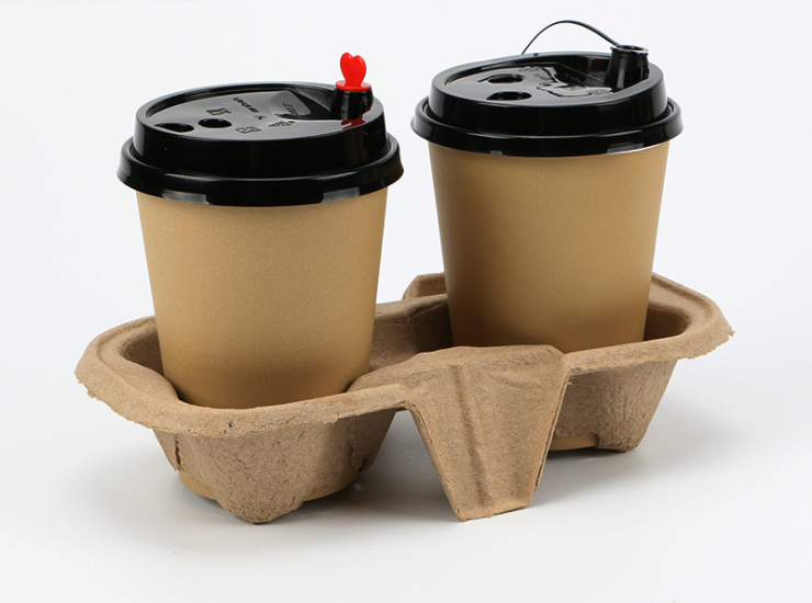 (Instant-pick Pulp Coffee Takeaway Holder Ready Stock) (Box) Pulp Cup Holder Disposable Takeaway Cup Holder Coffee Milk Tea Packed Pulp Tray Degradation Two Cup Four Cup