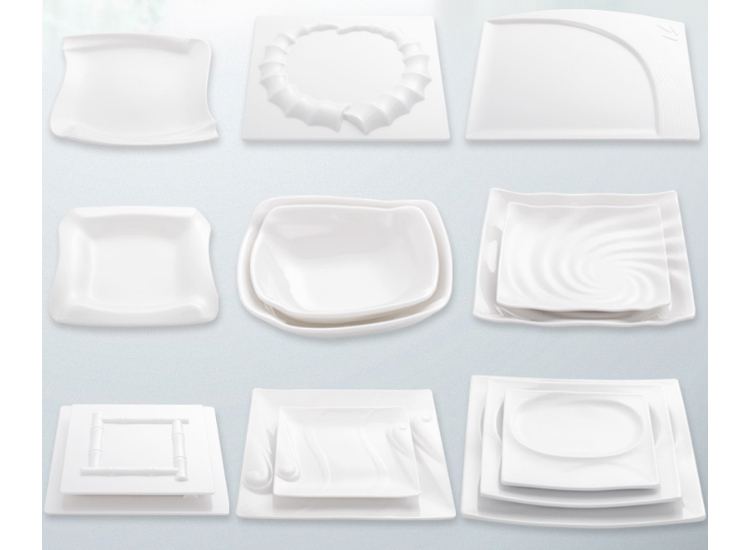 Pure White A8 Imitation Porcelain Melamine Square Plate Creative Square Dish Dish Hotel Hotel Commercial Tableware