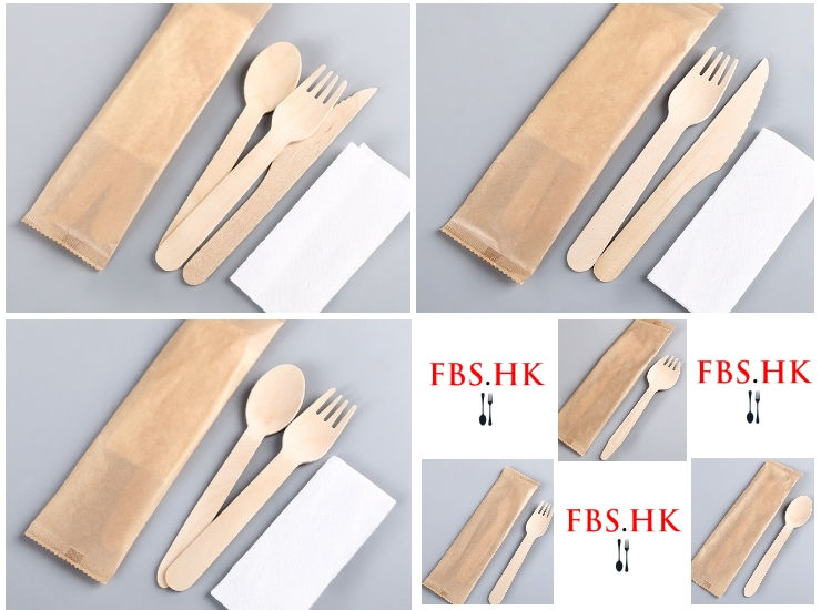 (Ready Biodegradable Kraftpaper-individual Packed Wooden Knife Fork Spoon Cutlery) (Box) Wooden Cutlery Cutlery Disposable Individually Packed Wooden Cutlery Set
