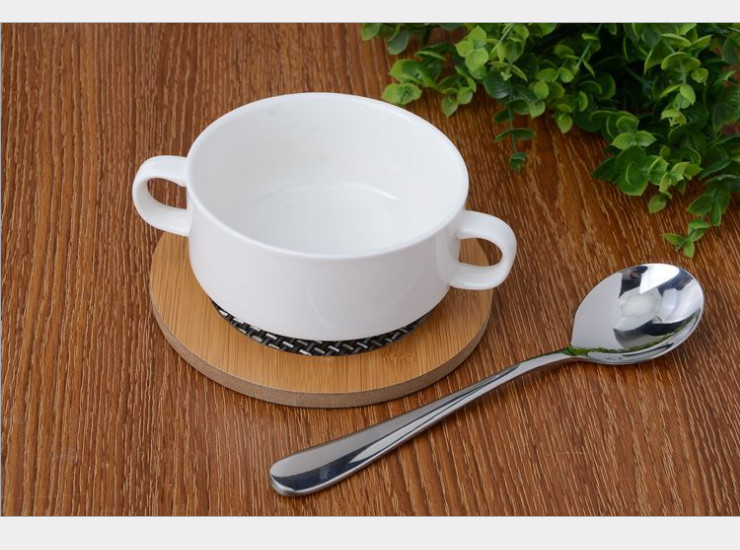 (Ready Ceramic Tableware Stock) Binaural Ceramic Soup Cup Western Soup Bowl
