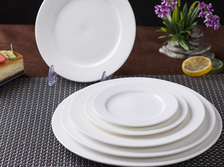 (Ready Ceramic Tableware Stock) White Ceramic Disc Ceramic Flat Plate Restaurant Western Restaurant Steak Meal Pasta Plate