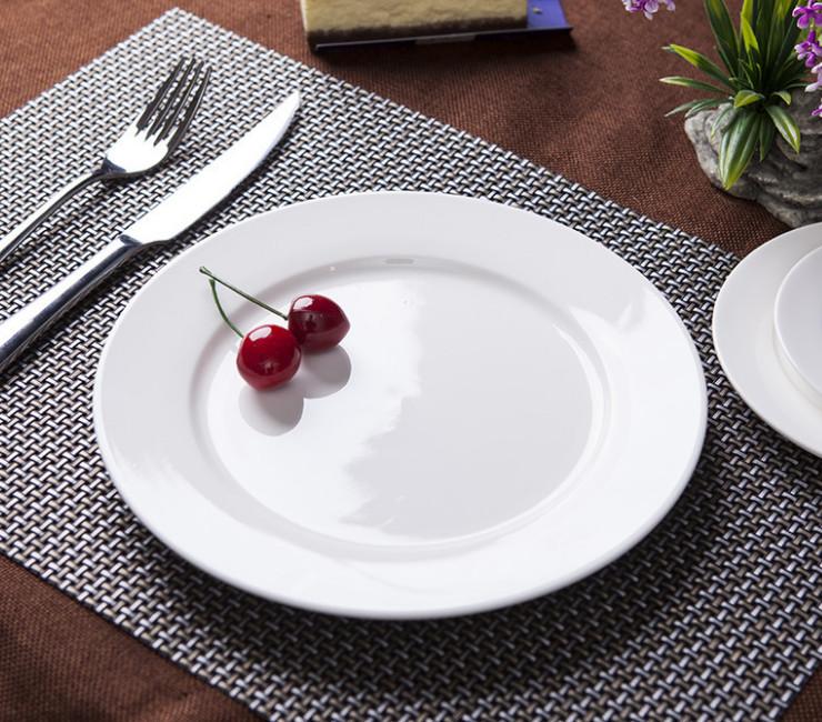 (Ready Ceramic Tableware Stock) White Ceramic Disc Ceramic Flat Plate Restaurant Western Restaurant Steak