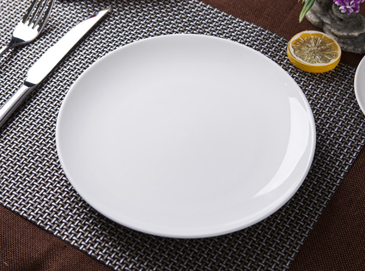 (Ready Ceramic Tableware Stock) White Ceramic Disc Ceramic Shallow Plate Hotel Disc Hotel Plate Moonlight Ceramic Plate