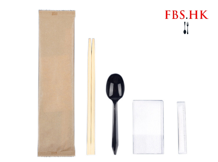 (Ready One-time Disposables Cutlery Spoon Chopsticks Cutlery Set In Stock) (Box) Disposable Kraft Paper Disposable Chopsticks Four-Piece Takeaway Commercial Four-In-One Cutlery Bag