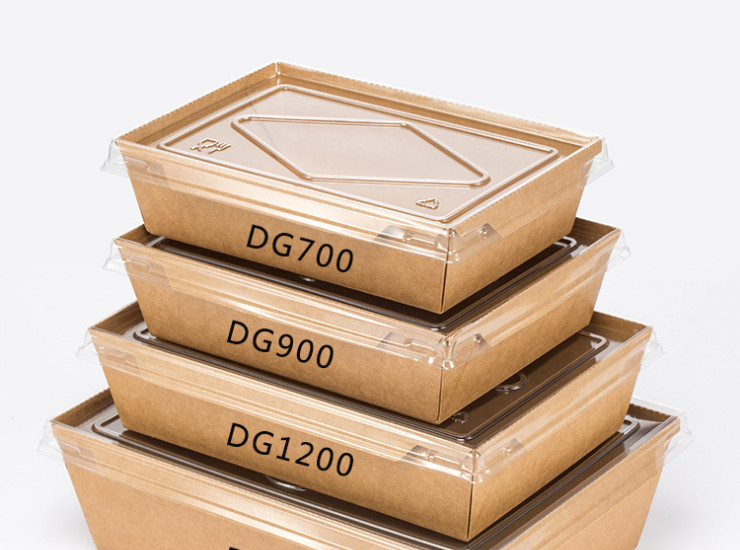 (Ready One-time Disposals Environmentally-Friendly Kraft Paper Box In Stock) (Box/200 Sets) Dg Kraft Paper Transparent Cover Lunch Box Disposable Lunch Box Salad Food Dessert Box