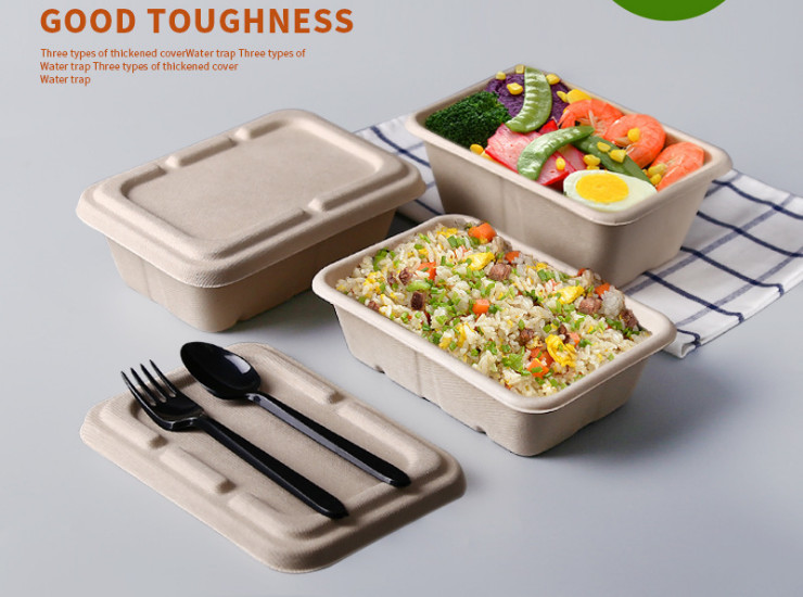(Ready One-time Disposables Meal Box) (Box /300 Sets) Environmentally Friendly Degradable Straw Pulp Lunch Box Disposable Lunch Box Rectangular Salad Box Lunch Box 950ML