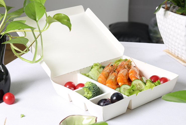 (Ready One-time Disposals Meal Box) (Box /500 Sets) One-Time Eco-friendly Bio-degradable Takeout Box Rectangular Partition White Cardboard Lunch Box Fashion Package Takeaway Fast Food Lunch Box