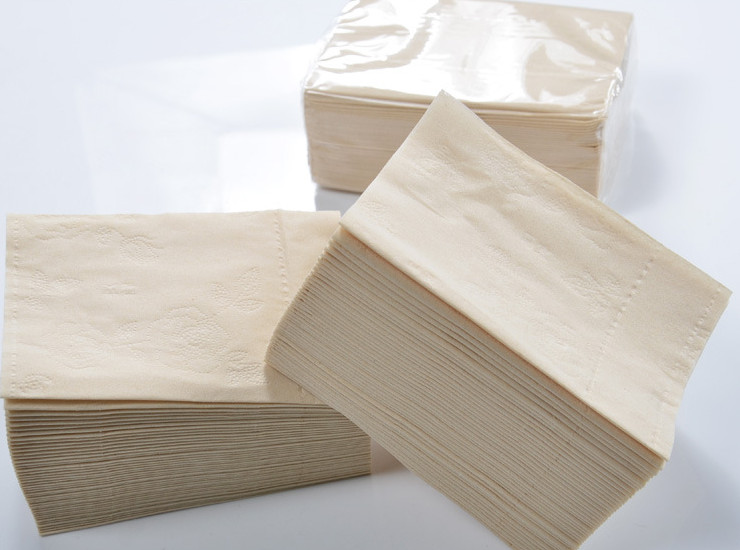 (Ready One-time Disposables Paper Napkin Tableware) (Box /100 Pack / 10000 Sheets) Bamboo Pulp Natural Napkins Original Natural Wood Color Bamboo Pulp 3-Layer Thick Paper