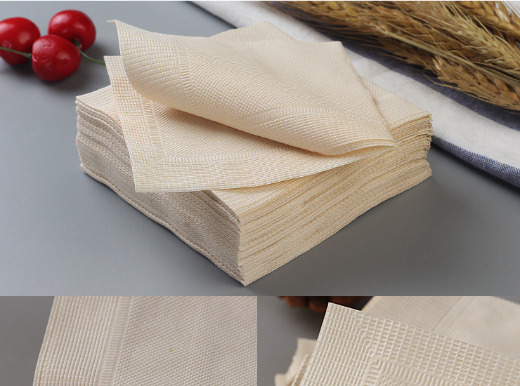 (Ready One-time Disposals Paper Napkin Tableware) (Box /100 Pack / 5000 Sheets) Double-Layer Original Natural Wood Color Floral-Pattern Napkin Original Bamboo Pulp