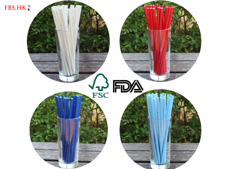 (Ready One-time Disposables Take-away Tableware) (Box/5000/10000pcs) Plastic-knocked-out Tableware Environmental FSC Certified Paper Drinking Straw FDA Tested Pure Color Paper Colored Drinking Straw Party Color Paper Straw