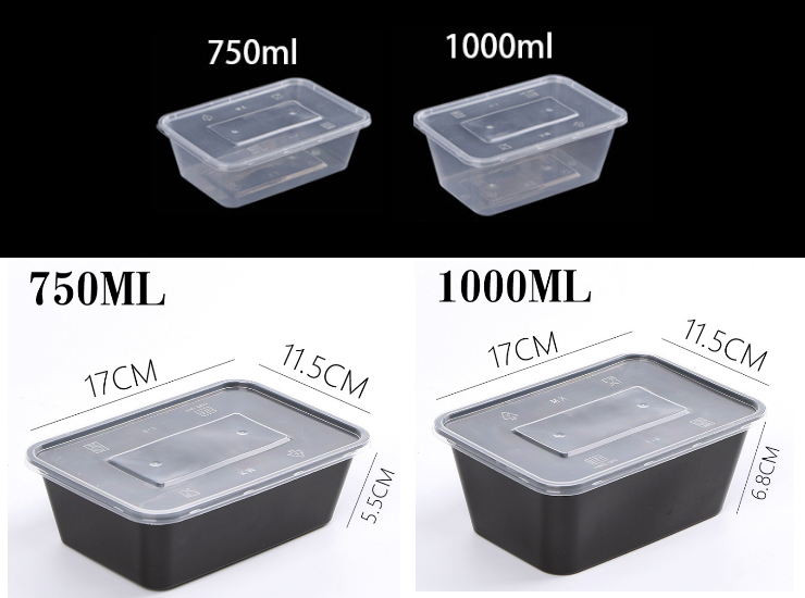 (Ready One-time Disposals Take-away Tableware) (300 Set/Box) Rectangular Disposable Lunch Box Plastic Disposal Packing Thickened Lunch Box Fast Lunch Box Black/Transparent 750/1000ML