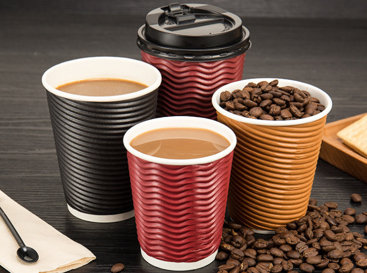 (Ready One-time Disposals Take-away Tableware) (Box) Disposable Paper Cups Corrugated Corrugated Paper Cups High-Grade Hot Tea Tea Coffee Cups
