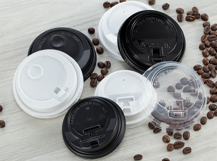 (Ready One-time Disposals Take-away Tableware) (Box/1000 Pcs) Coffee Paper Cup Cover PS/PP Paper Cover Black And White Hole Covered Tea Cup Cover Lid