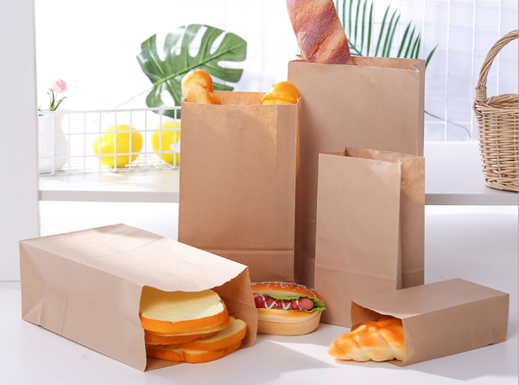 (Ready One-time Disposals Take-away Tableware) (Box/500 Pcs) One-Time Packaging Bags Made Of Oil-Resistant Kraft Paper Bags At The End Of Food Bags Breakfast Bread Bags