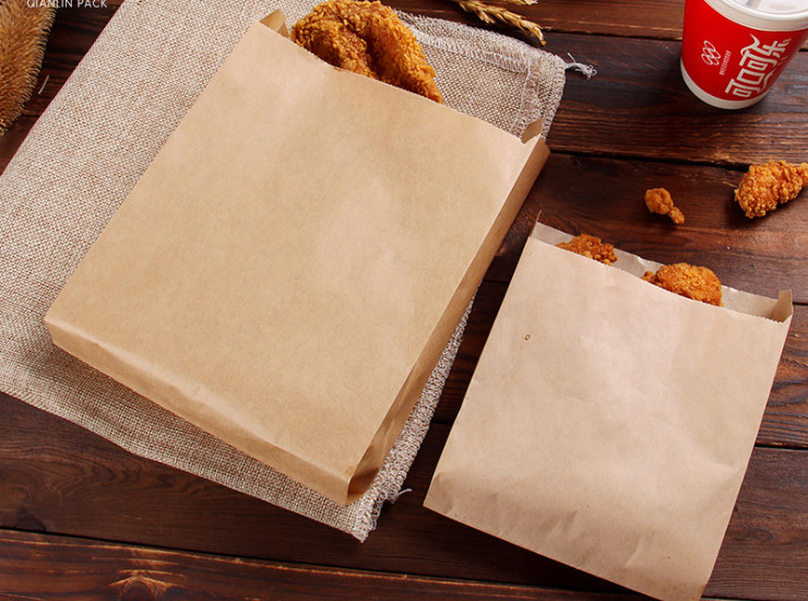 (Ready One-time Disposals Take-away Tableware) (Box/500 Pcs) Snack Paper Bag Oil Paper Bag Hand Cake Paper Bag Chicken Bag