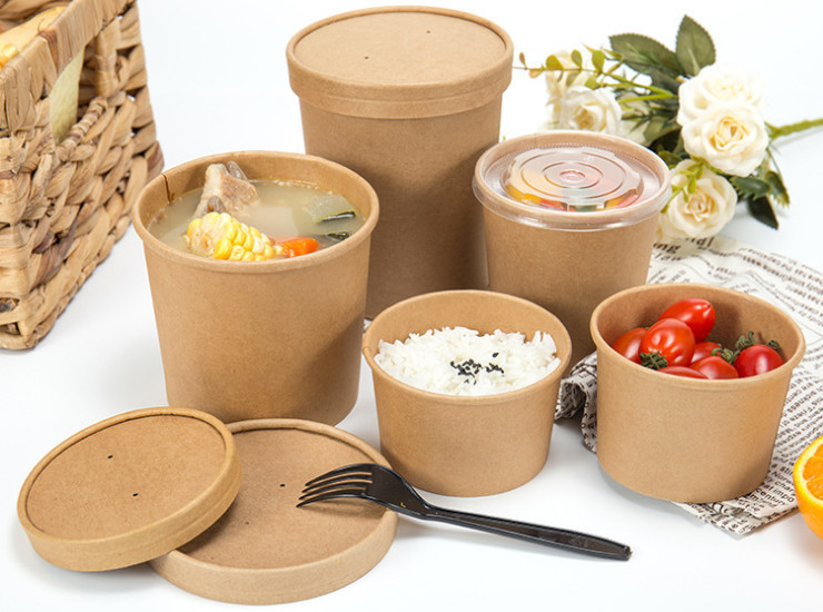 (Ready One-time Disposables Take-away Tableware) (Box/500 Pcs) Yellow Kraft Paper Soup Cup Round Paper Packaging Cup Creative Takeaway Paper Cups