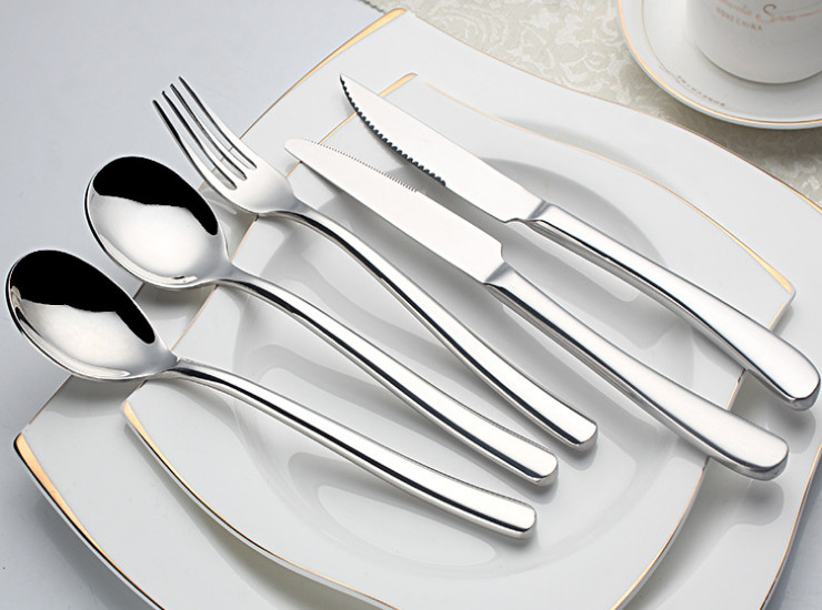 (Ready Stainless Steel Tableware Stock) 201 High-End French Moonlight Stainless Steel Cutlery Steak Fork Spoon