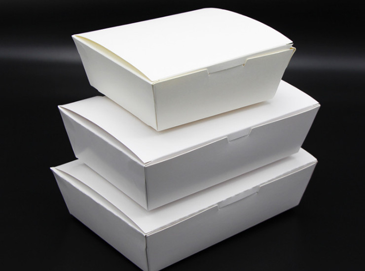 (Environmentally Friendly Natue Degradable Tableware Ready Stock) (Box) Disposable Paper Lunch Box Custom Take-Out Packaging Box Fast Food Box Lunch Box Environmentally Degradable White Card Tray