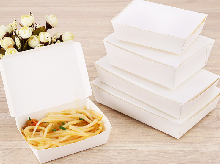 (Environmentally Friendly Natue Degradable Tableware Ready Stock) (Box) Disposable Paper Lunch Box Snack Box Takeaway Packaging Box White Card Tray Environmentally Friendly Degradable
