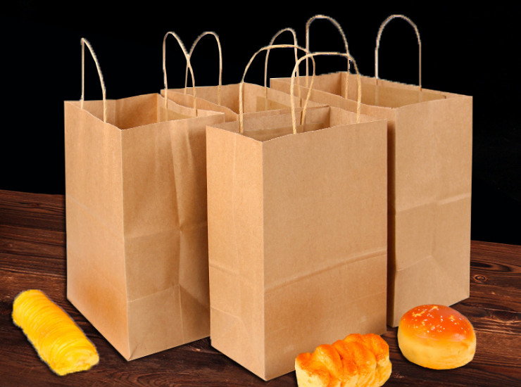 (Ready-Stock Eco-friendly Biodegradable Handled Paper Bag) (Box/300 Pcs) Handled Paper Bags for Takeaway Meal Clothing Packing Bag