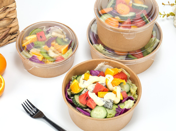 (Ready-Stock Eco-friendly Biodegradable Kraft Paper Bowl) (Box/300 Sets) One-time Disposable With Lid Kraft Paper Bowl 750ml/1000ml/1200ml