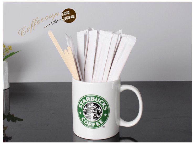 (Ready-Stock Eco-friendly Biodegradable Wooden Tableware) (Box/5000 Pcs) Disposable Environmentally-Friendly Degradable Wood Product Coffee Stick Coffee Long Stirrer 190*6*1.5mm (Paper Independent Packaging)