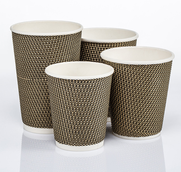 (Ready-Stock Eco-friendly Corrugated Paper Cup) (Box/1000 pcs) Thickened Heat-resistant Grid Pattern Corrugated Paper Cup 8oz Hot Drink Coffee Cups