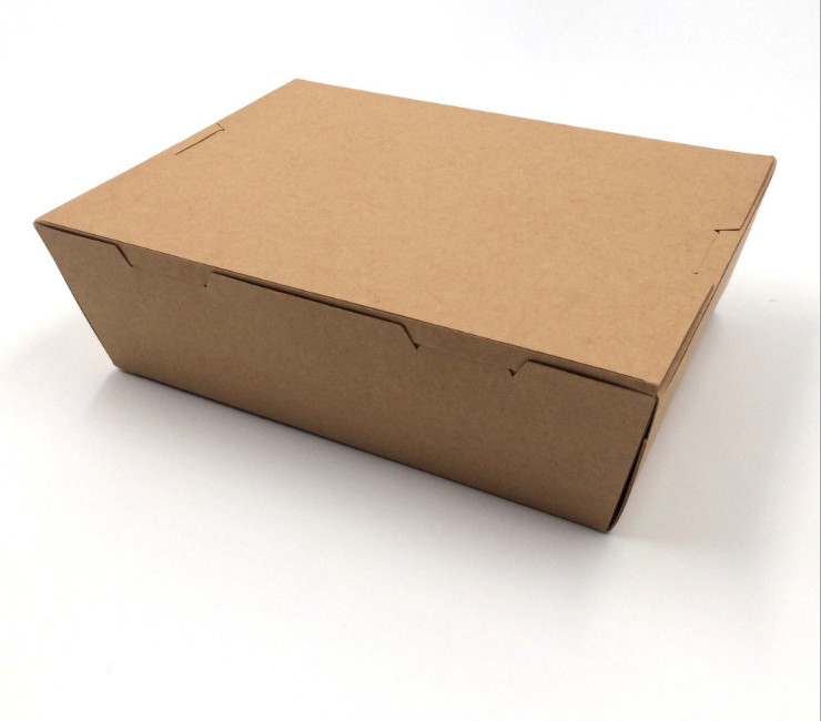 (Ready-Stock Eco-friendly Kraft Paper Meal Box) (Box/200 Pcs) Disposable Environmentally-Friendly Kraft Paper Stacked Buckle Meal Box