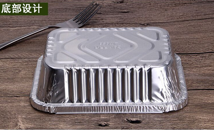 (Ready-Stock Eco-friendly Tin Foil Meal Box) (Box/1000 Set) Disposable Environmentally-Friendly Take-Out Package Rectangular Takeout Box Tin Foil Fast Food Box 750ML (Model 185)