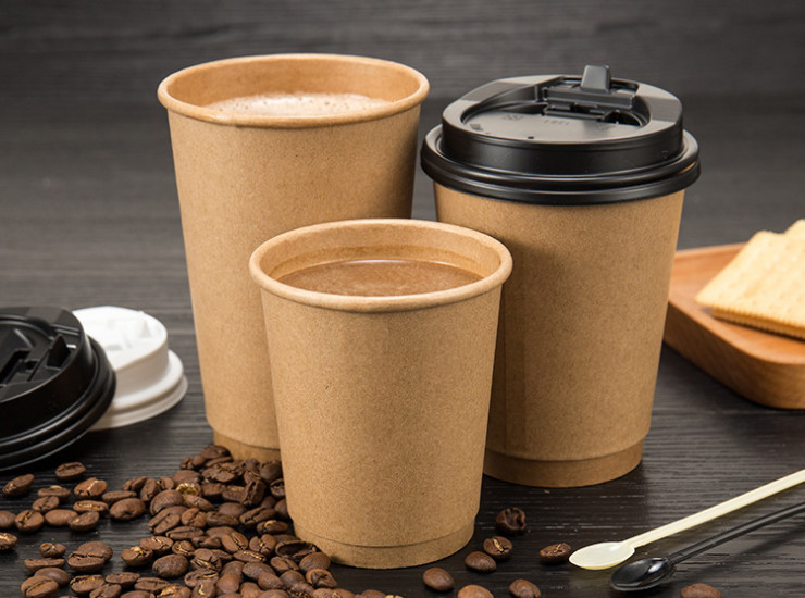 (Ready-Stock Kraft Paper Hot Cup) (Box/500 Pcs) Disposable Double-layer Craft Paper Hollow Heat-resistant Cup Hot Drink Cup Coffee Cup 8/12/16oz