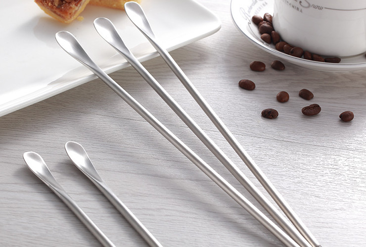 (Ready-stock Stainless Steel Tableware) 304 Stainless Steel Creative Round Handle Coffee Stirrer Bar Cold Drink Cocktail Stirrer