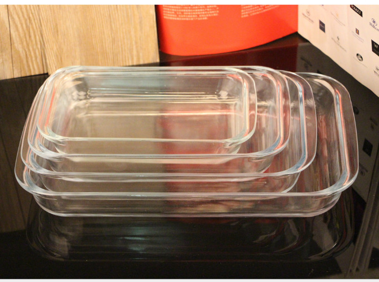 Rectangular Tempered Glass Pan Transparent Transparent Fish Dish Dish Microwave Oven Tray Tray