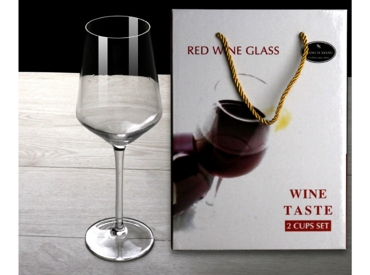 Red Wine Glass Two Gift Box Set Crystal Glass High Red Wine Cup Set Spot Wholesale (One Set 2 Pcs)
