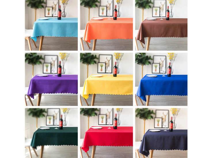 Restaurant Restaurant Banquet Wedding Tablecloth Solid Color Table White Rectangular Polyester Conference Cloth Tablecloth