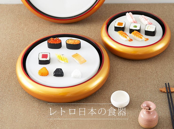 Round Golden Crown Sushi Bucket For Sashimi Assortment Japanese And Korean Dishes Can Hold Inner Grid And Inner Plate