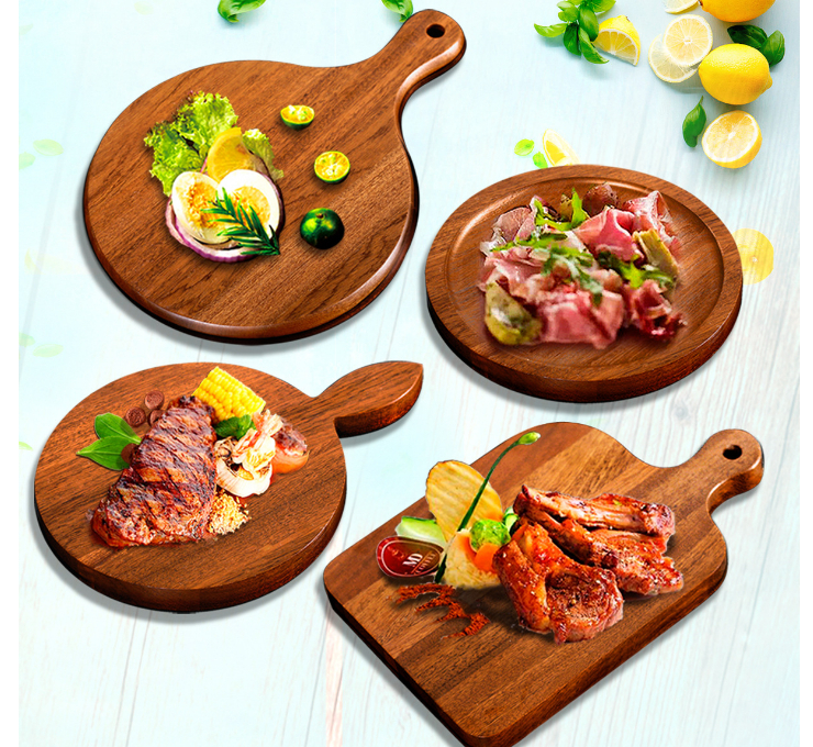 Sauerkraut Sapele Wood Beef Plate Photographing Tray Palette Solid Wood Cooked Chopping Pizza Dish Baking Breadboard (Multiple Styles & Sizes)