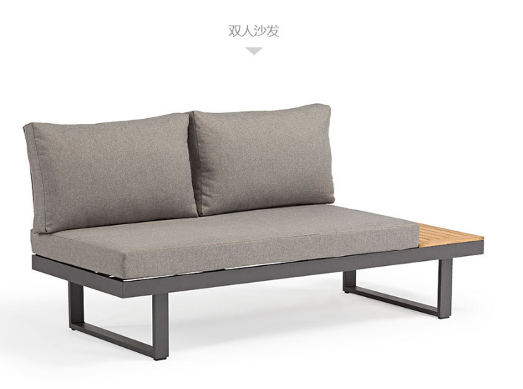 Simple Outdoor Waterproof Sunscreen Sofa Coffee Table Combination Terrace Solid Wood Table And Chair Garden Leisure Teak Outdoor Sofa (Delivery & Installation Fee To Be Quoted Separately)
