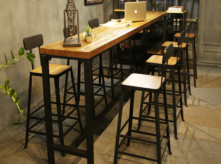 Simple Solid Wood Bar Tables And Chairs Milk Tea Shop Coffee Shop Leisure High Bar Table Against The Wall Multi-Person Bar Table (Delivery & Installation Fee To Be Quoted Separately)