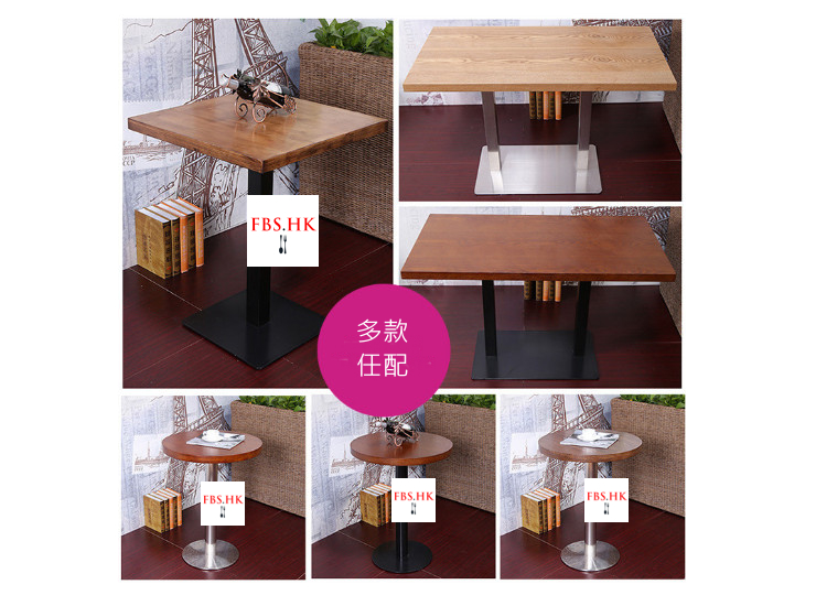 Small Round Table Fast Food Table Restaurant Cafe Tea Dessert Shop Bar Solid Wood Chairs Wholesale (Shipping Fee Quoted Separately)
