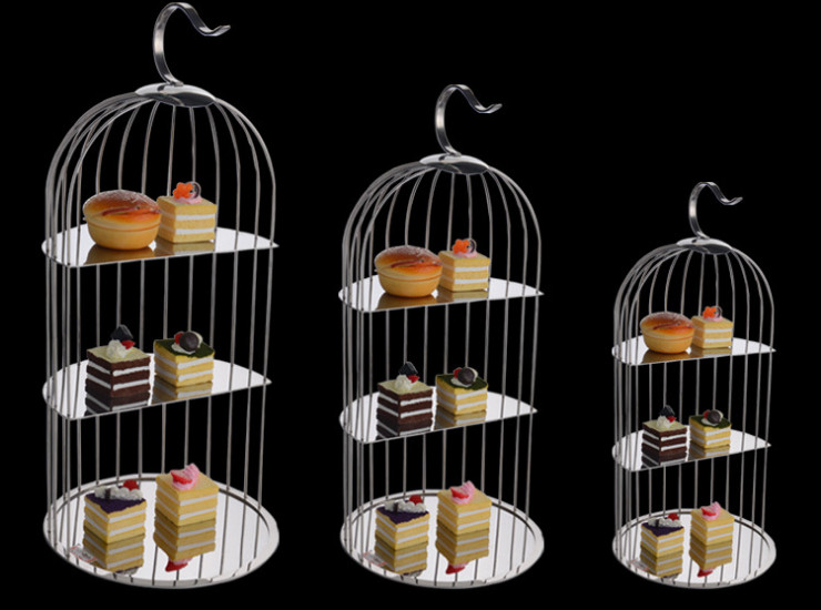 Stainless Steel Birds Dessert Display Stand Three Layers Cake Racks Creative Afternoon Tea Snack Scaffolding