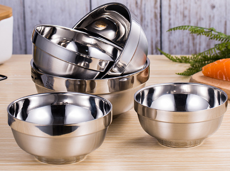 Stainless Steel Bowl Insulation, Anti-Fall Rice Bowl, Bright Sanding, Double Bowl