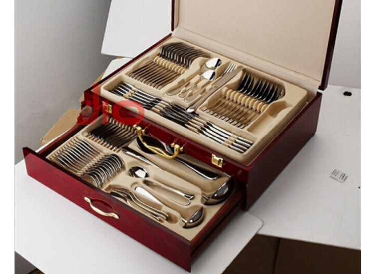 Stainless Steel Cutlery Set 84 Pieces Of High-Grade Wooden Box