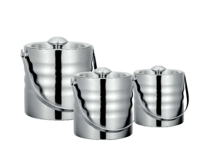 Stainless Steel Double Insulated Lid Covered With Ice Bucket Handle Sanding Ice Particles Barrels Wave Straight Straight Double Champagne Barrels